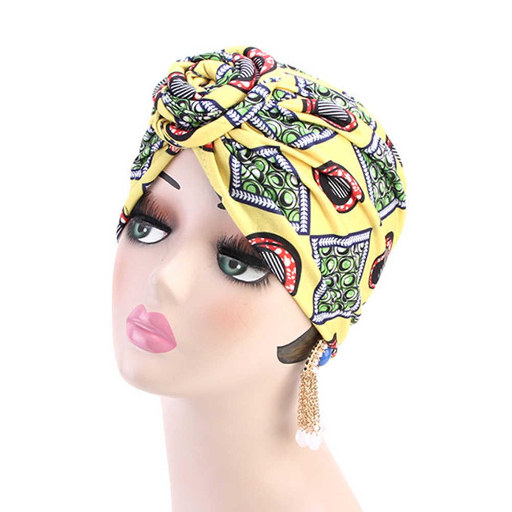 2019 Bandanas anudadas para mujer, sombrero musulmán, turbante elástico, nudo torcido, sombrero de la India para mujer, gorra de quimio Hijab Heqadwrap, accesorios para el cabello para mujer