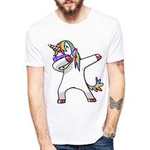 Фотография Newest Men Funny T Shirts Summer Fashion Dabbing Unicorn/Cat/Panda Tops Hip Hop Tee Funny design printed Tshirt