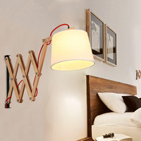 Stretch retractable wall lamp creative retro style sconces art deco arandela Stretch Length adjustable Wood Wall Lamp