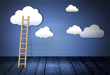 Laeacco Cartoon Sky Clouds Ladder Wall Wooden Board Photography Backgrounds Customized Photographic Backdrops For Photo Studio