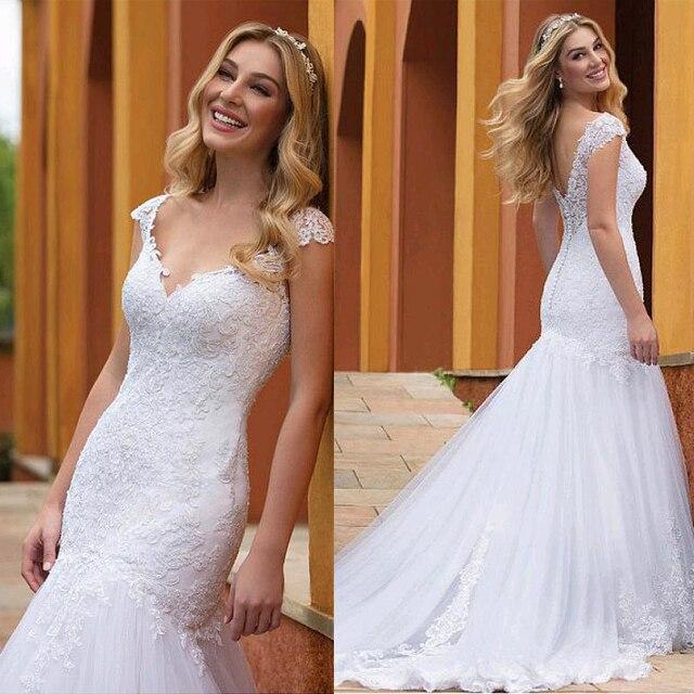 Prachtige Tule V hals Hals Mermaid Trouwjurken Met Kant Applicaties Slim Bridal Dress vestido de formatura