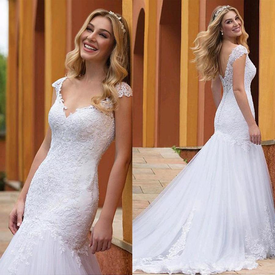 Wonderful Tulle V-neck Neckline Mermaid Wedding Dresses With Lace Appliques Slim Bridal Dress vestido de formatura