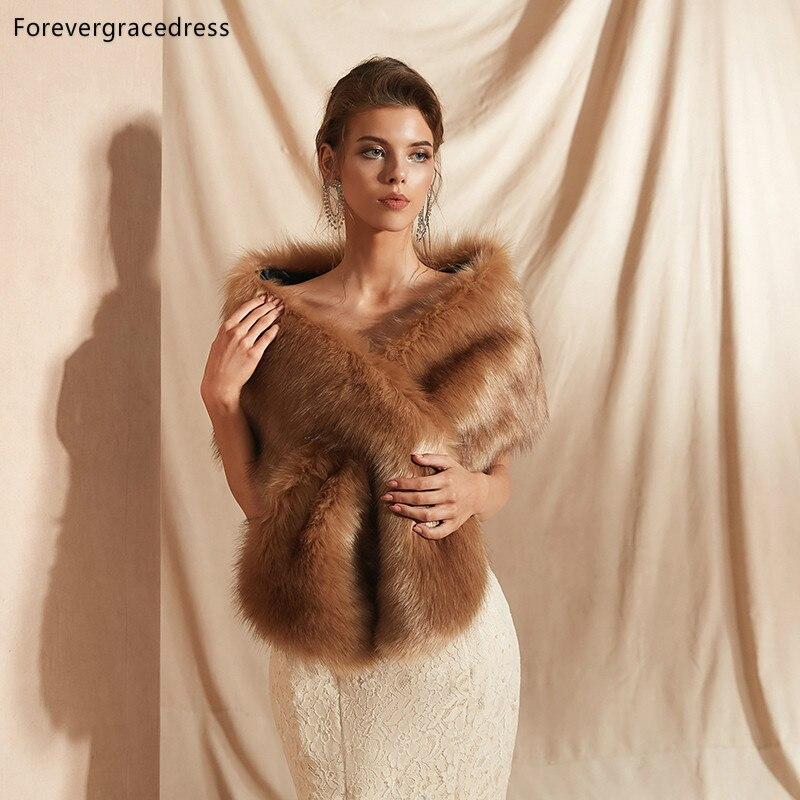 Forevergracedress 2019 Elegant Soft Autumn Winter Faux Fur Bride Wedding Wrap Bolero Jackets Bridal Coats Shawls Scarves PJ313