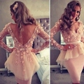 Elegant Vestidos De Festa V-Neck Beige Tulle Applique Bow Flowers Cocktail Dresses Long Sleeves Knee-Length Party Gowns CX067