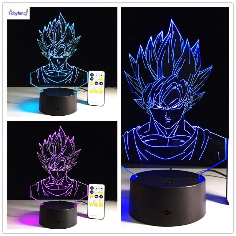 Tobyfancy Dragon Ball Z Figure 3D Led Table Lamp Flash Super Saiyan Goku Effect Colorful Acrylic Visual Illusion USB LED Lights 3 5mm jack in ear earphone w microphone for iphone 4 4s ipad samsung more black white