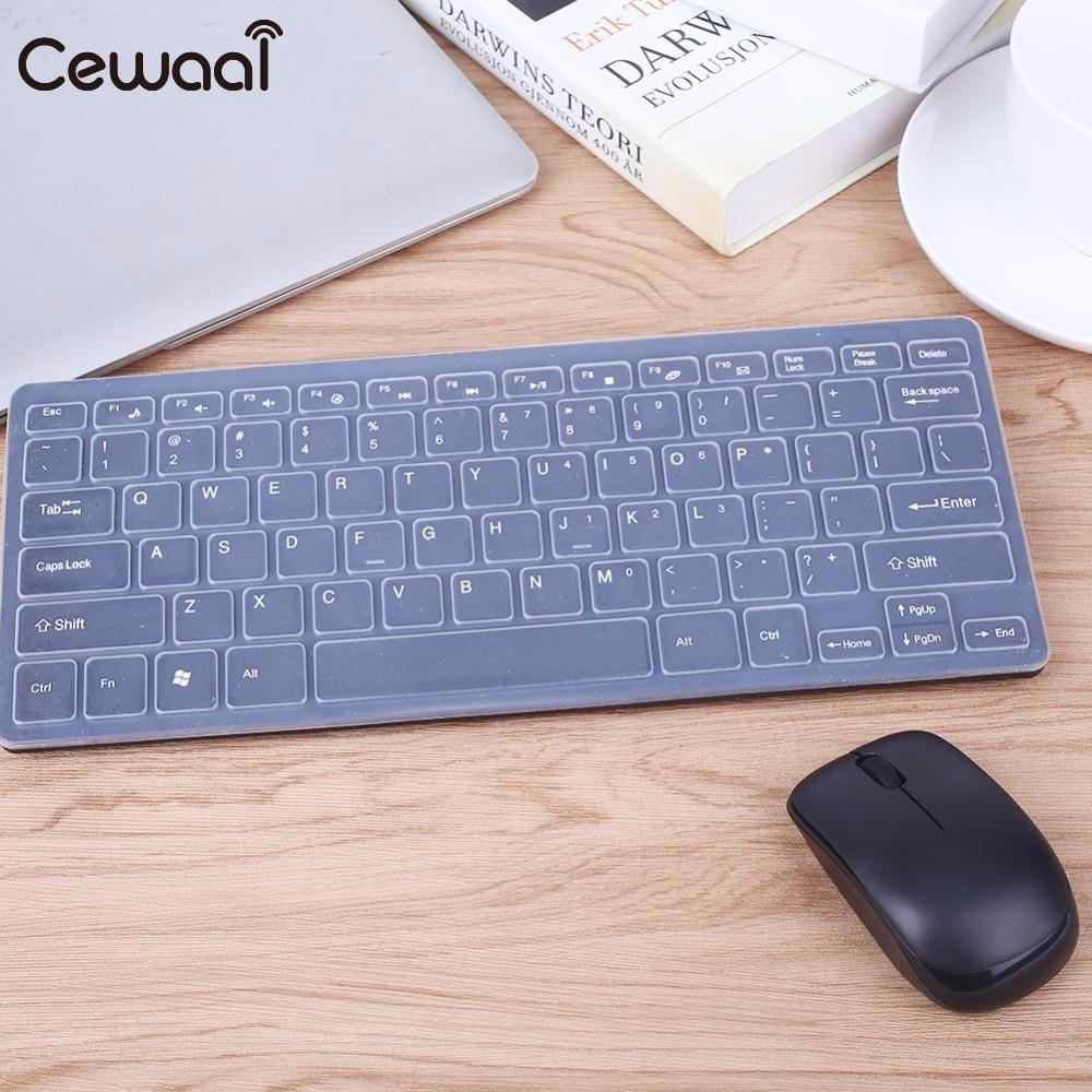 Cewaal Universal Ultra Thin 2.4GHz Wireless Keyboard Mouse Combo Set Gaming Mouse Kit for Laptop Desktop