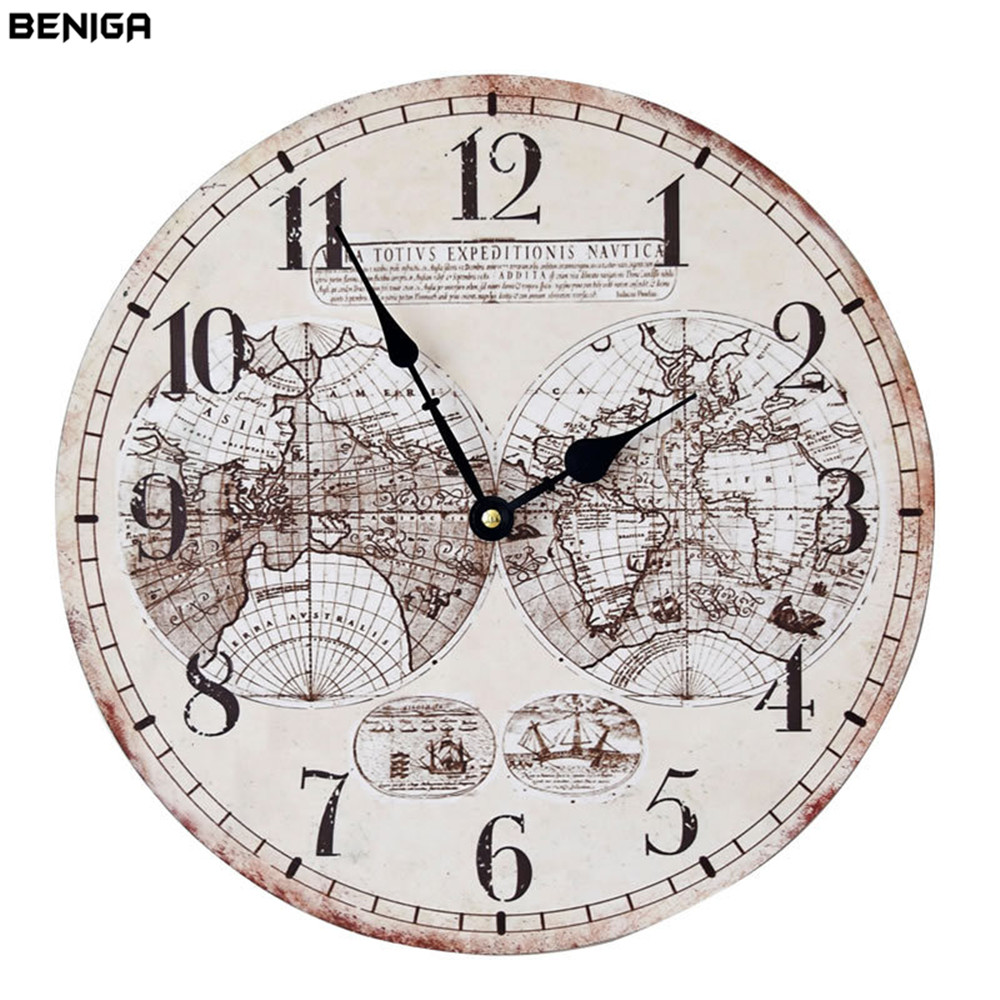First Home Wall Clocks Fromhome Retro World Map Wall Clock Zakka Vintage Classic Wood Round Retro World Map Wall Clock Zakka Vintage Classic Wood Round Silently Needle Mute Quartz Wall Clock furniture Wall Clock World