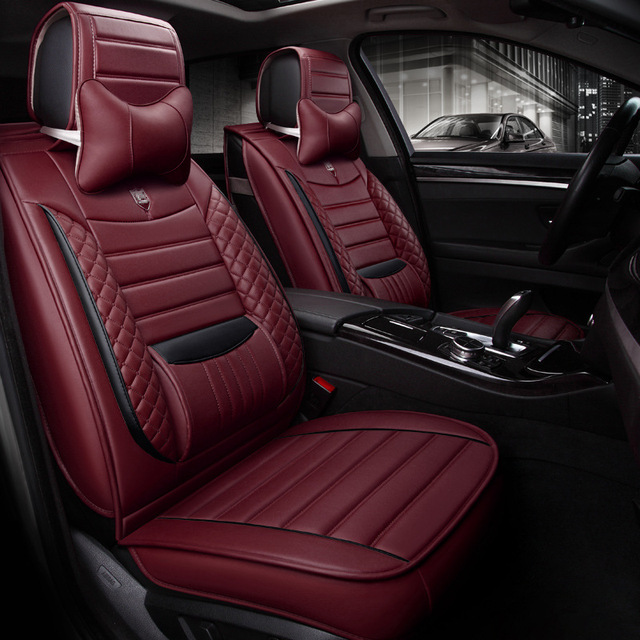 Auto Cushions For Car Seat Full Set PU Leather With Fixed Lumbar Universal Size RF008
