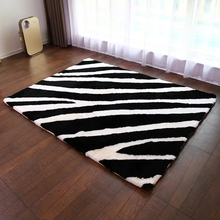 Unique design Black and white mix zebra pattern sheepskin fur rug tailored size sheared bedside carpet doormat