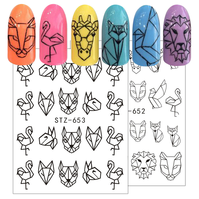 1pcs Nail Art Water Transfer Sticker Hollow Tattoo Decals Geometry Flamingo Dog Slider Adhesive Decoration Manicure BESTZ651-654