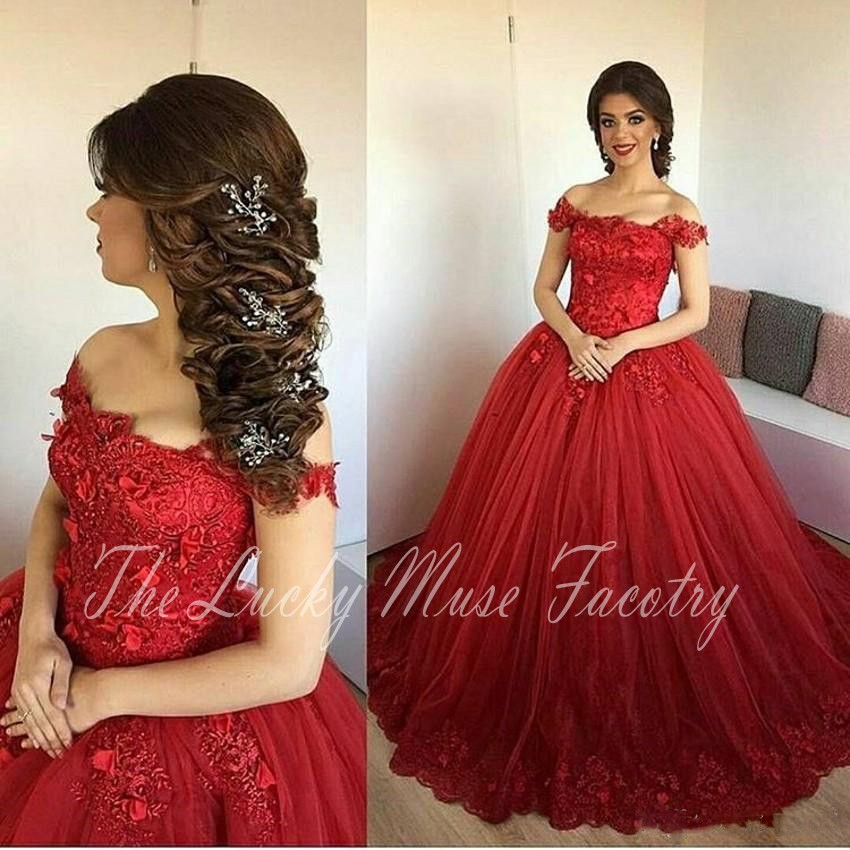 For red quinceanera dresses off the shoulder can that