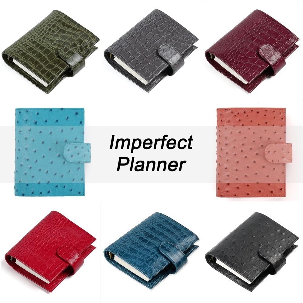 Limitada Imperfeito Anéis de Couro Genuíno Notebook A7 Tamanho Fichário Agenda Organizador Planejador Diário Jornal Sketchbook Bolso Grande