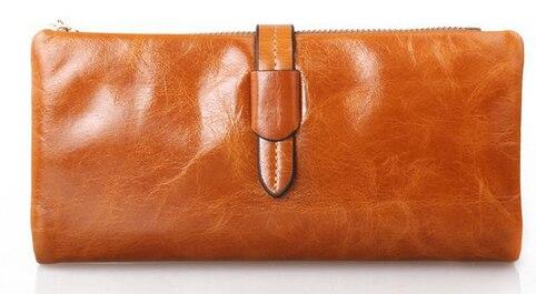New oil wax cowhide ladies wallets fashion Pumping belt women 's wallet leather clutch