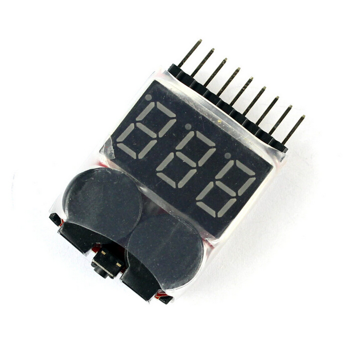 F00872 Lipo Battery Voltage Tester Volt Meter Indicator Checker Dual Speaker 1S-8S Low Voltage Buzzer Alarm 2in1 2S 3S 4S 8S 5pcs hotrc bx100 1 8s lipo battery voltage tester low voltage buzzer alarm battery voltage checker with dual speakers