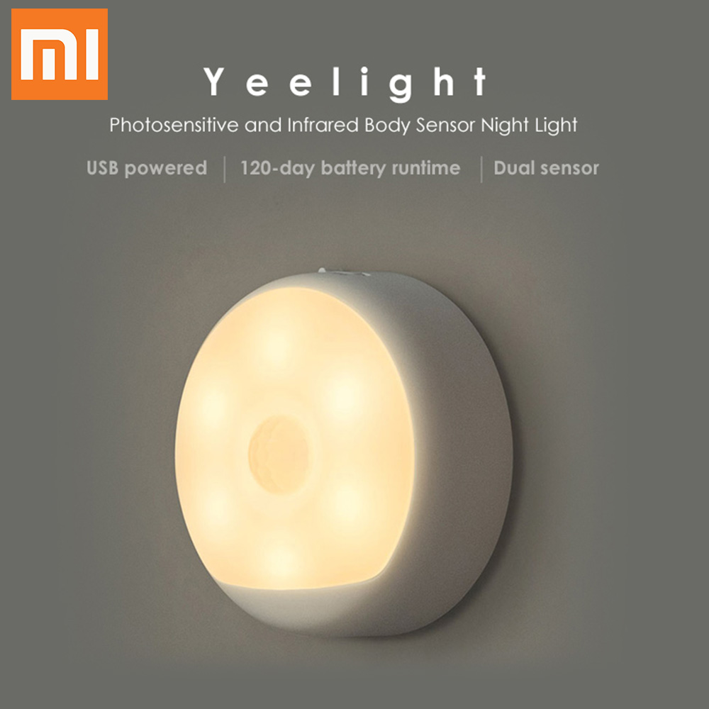 Xiaomi Yeelight LED Light USB Powered Small Night Light Photosensitive and Infrared Human Sensor Night Light For Smart Home xiaomi mijia yeelight portable led makeup mirror with light dimmable and smart motion sensor night light for xiaomi smart home