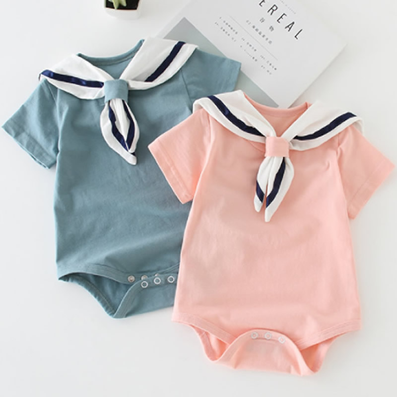 12M Sailor Collar Romper Newborn Baby Boy Girl Clothes Costume Rompers Cotton Playsuit jumpsuit Summer Clothing Toddler Outfits