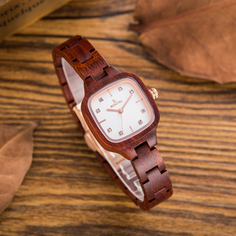 Luxury Natural Wood Women Quartz Watch Small Square Dial Wristwatch Red Black Sandalwood Watches Gift Montre Femme Relojes Mujer