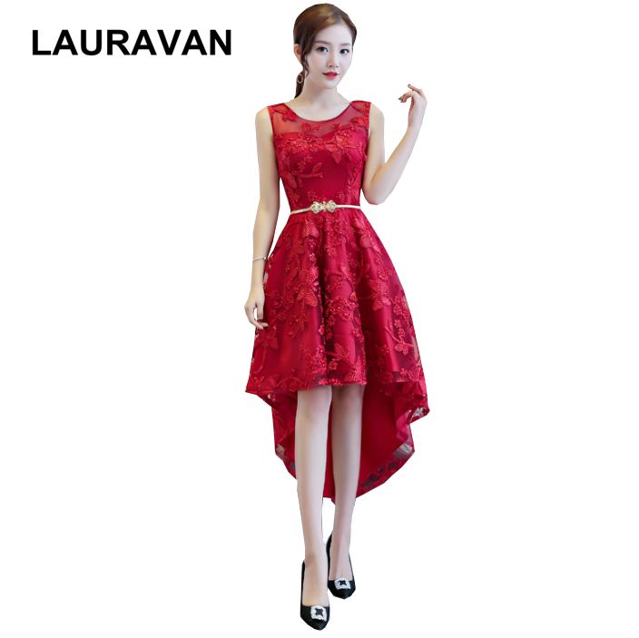Unique Wine Red Burgundy High-low Lace Bridesmaid Pageant Dress For Teens Sexy Modest Formal Gowns Occasion Dresses Girls