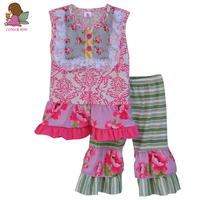 Factory Selling Baby Clothing Girl Set Floral Pattern Lace Embroidered Chest Plus Green Capris Button Deco Outfits S029