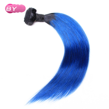 BY Malaysian Pre-Colored Raw Straight Hair 1B-Blue  Color One Piece Non-Remy Human Hair 12-24 inch For Salon Hair Extension