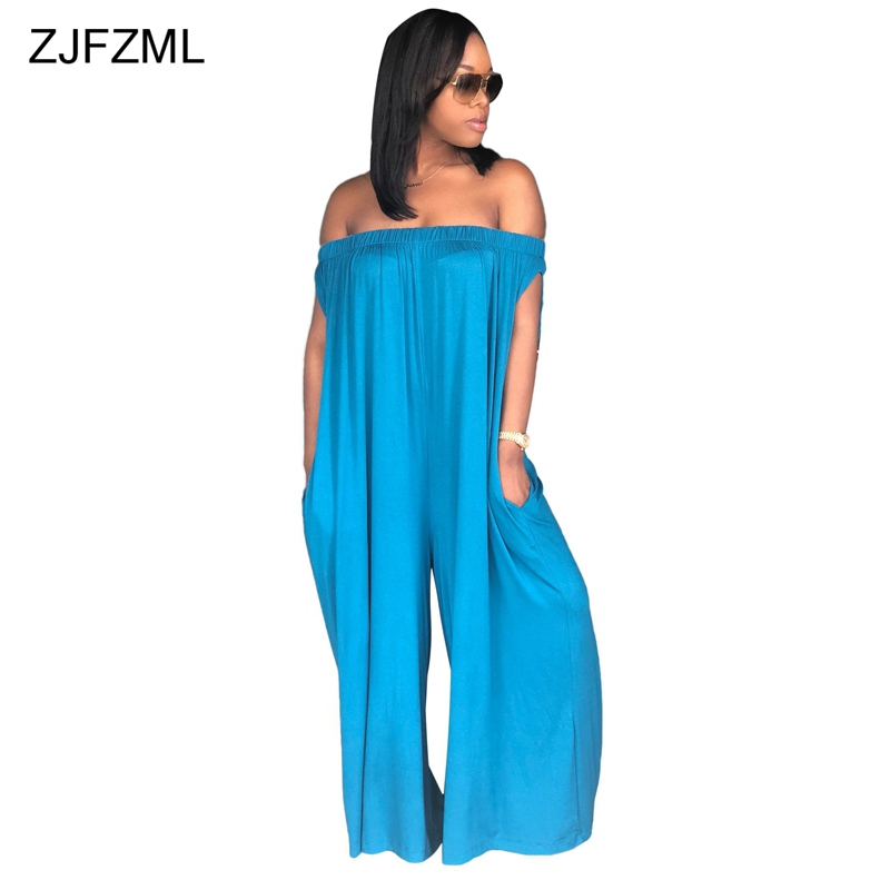 ZJFZML Off Shoulder Slash Neck Sexy Jumpsuit Summer Sleeveless Backless Loose Overall Women Casual One Piece Long Maxi Rompers ...