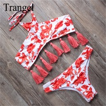 Trangel новый стиль 2017 бренд бикини сексуальные женщины купальники топ кисточкой печати купальник бразильское бикини набор холтер купальники bf024