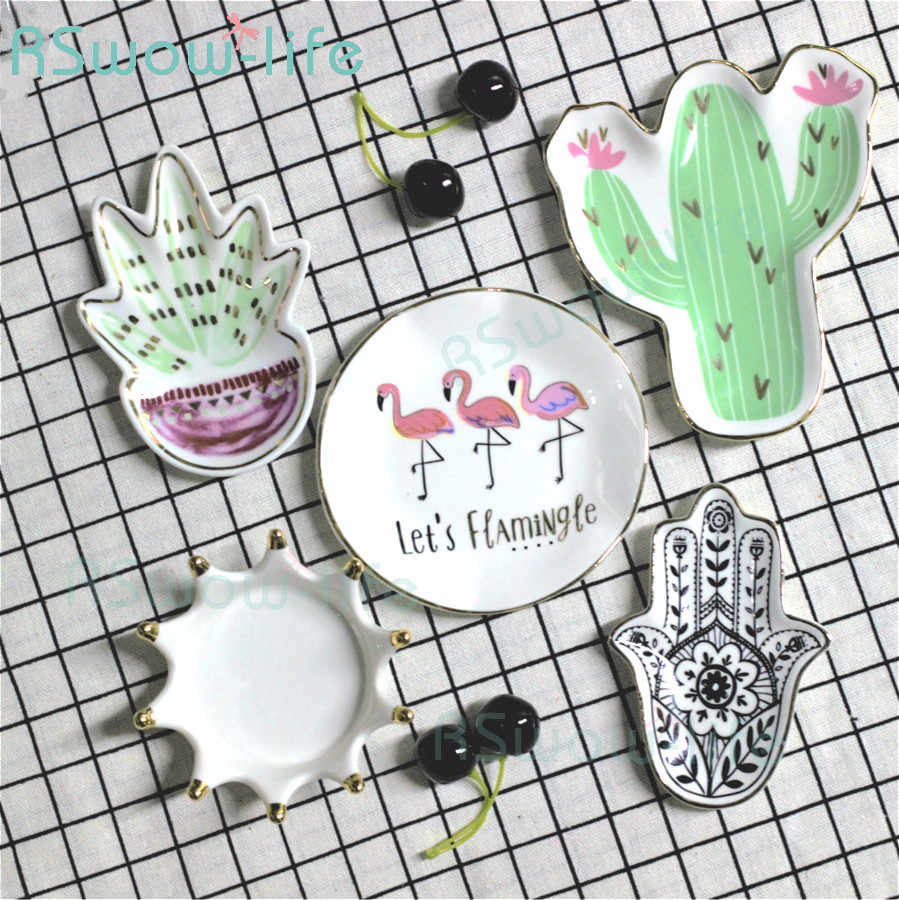 Creative Mini Plate Cactus Crown Ceramic Plate Small Snack  Saucer Disk Jewelry Receiving Plate Dishes For Kitchen Supplies