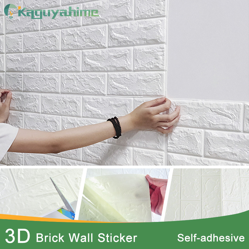 Kaguyahime autoadhesivo 3D pegatinas de pared a prueba de agua DIY espuma de ladrillo de pared de papel TV telón de fondo decoración de mármol papel tapiz colorido ladrillo
