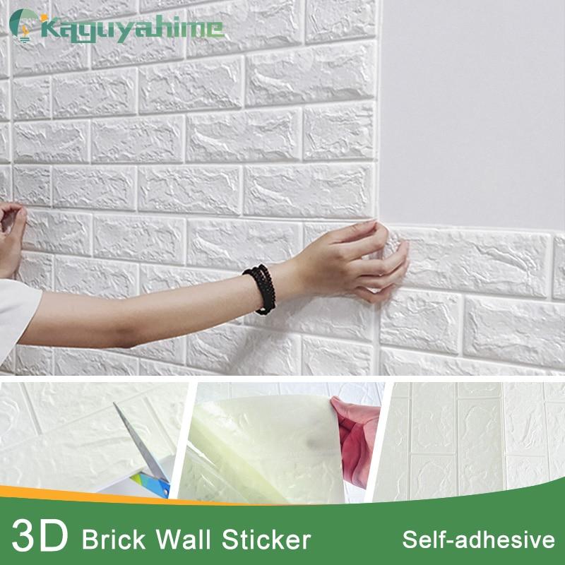 Kaguyahime Self-Adhesive 3D Wall Stickers Waterproof DIY Foam Brick Wall Paper TV Backdrop Decor Marble Wallpaper Colorful Brick
