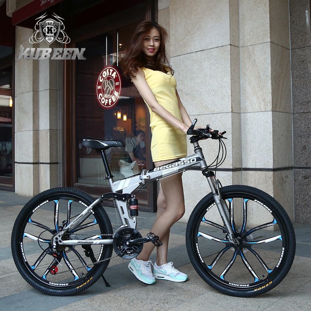 26inch folding mountain bike 21 speed double damping 6 knife wheel and 3 knife wheel bicycle double disc brakes mountain bike rockbros titanium ti pedal spindle axle quick release for brompton folding bike bicycle bike parts
