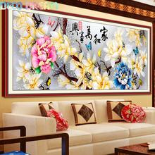 Diy Diamond Painting Family Harmony Full Embroidery Big For Room Color Carving Magnolia Picture