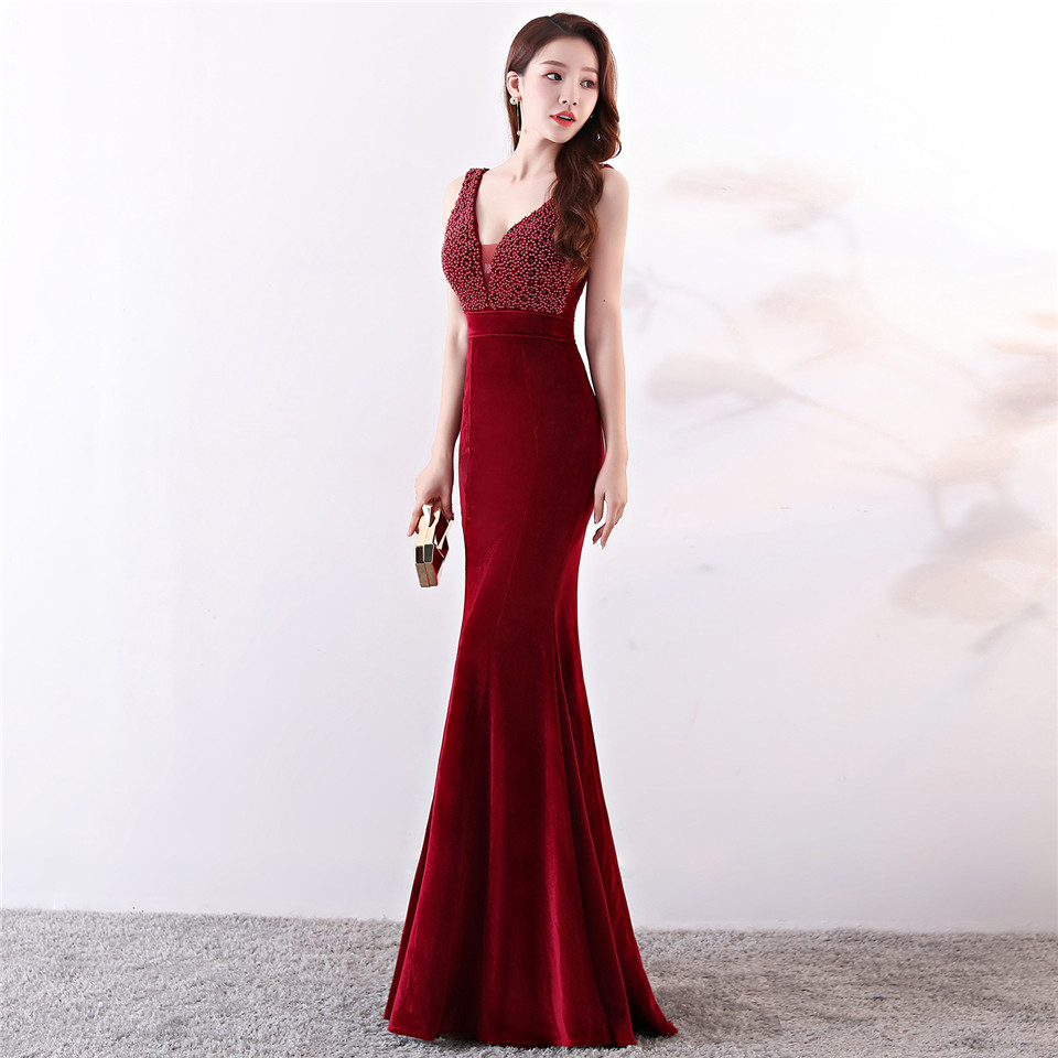 It's Yiiya Party gowns V-neck Sleeveless Beading Trumpet Prom dresses Sexy Backless Floor-length Zipper back evening dress C197