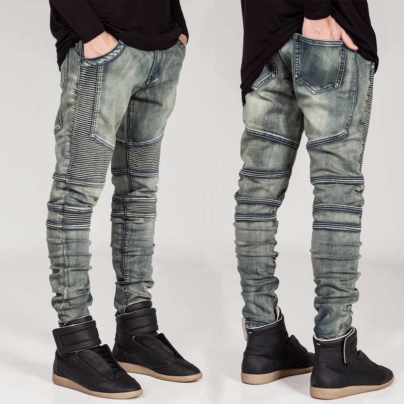 Brand Men Straight Slim Fit Biker   Jeans   Pants Pleated Retro Denim Trousers   Jeans   Men Biker Denim skinny   Jeans   Homme Plus Size 42