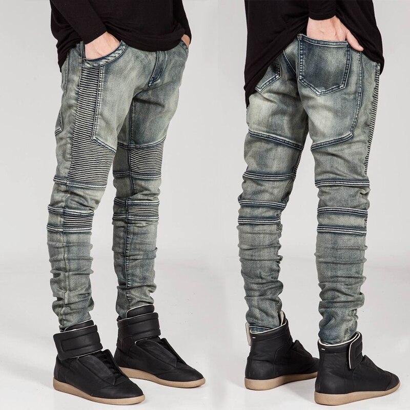 26fabf492 Los hombres de la marca recto Slim pantalones vaqueros Pantalones Falda  pantalones Retro de ...
