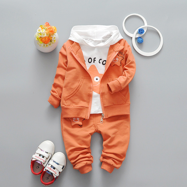 Good quality 2017 Spring Baby Girls Boys Suits Cotton Coats Hooded T Shirt Pants Infant Casuasl