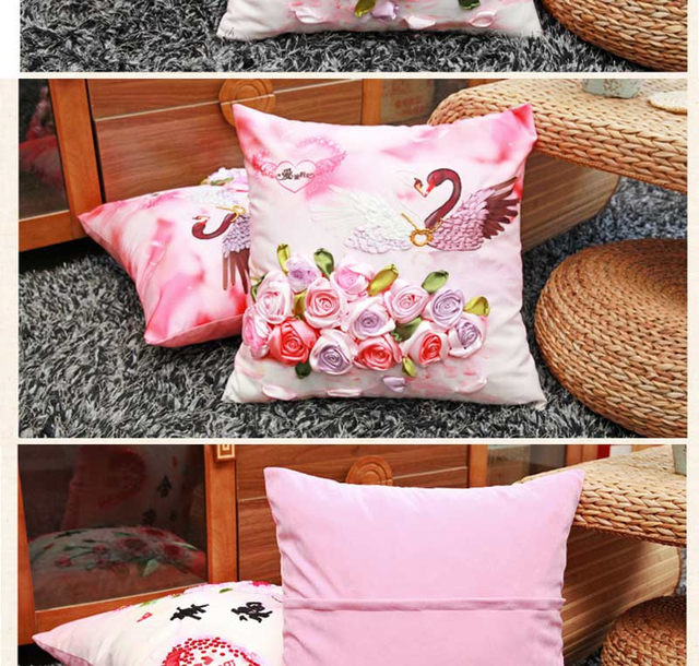 Online Shop Swan Rose Flower Ribbon embroidery kit Toolkit cushion ...