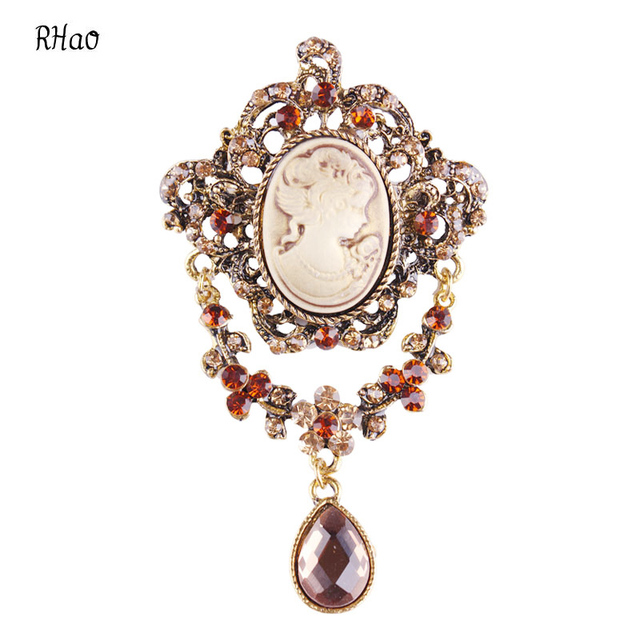 Fashion Antique Gold Silver Vintage Beauty Head Brooch Pins Jewelry Queen  Cameo Brooches Rhinestone For Women Christmas Gift 36f2449a1693