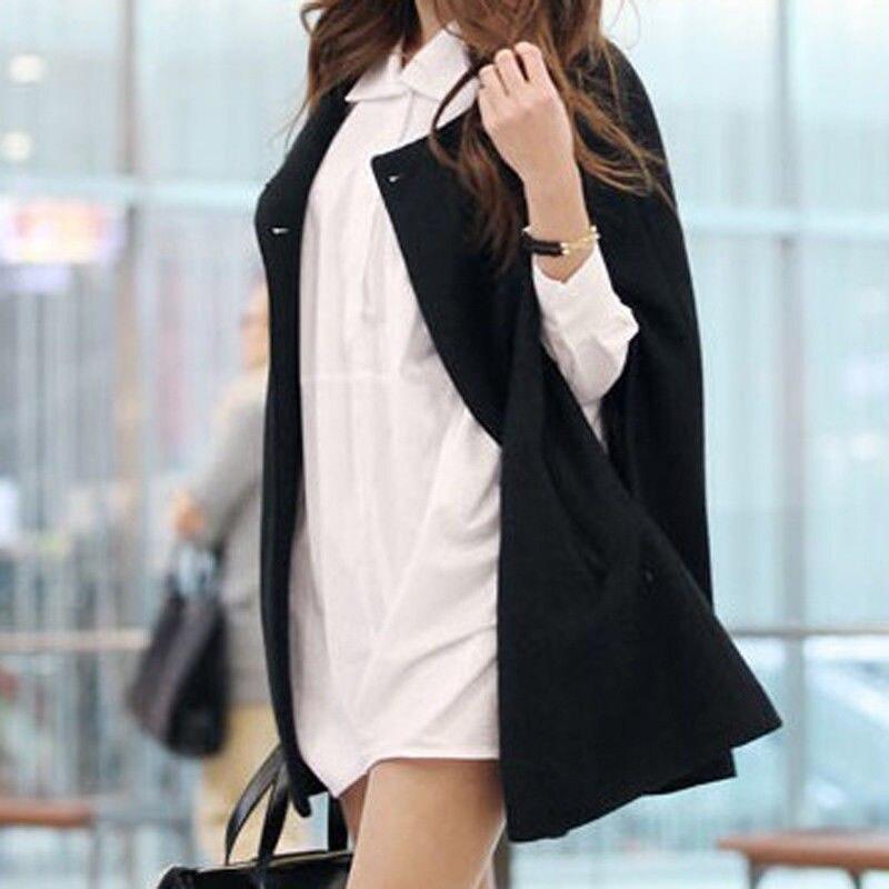 Women Loose Batwing Wool Poncho Winter Warm Coat Jacket Black Cloak Cape 5