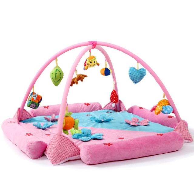 Flores cor de rosa Princesa Macio Brinquedo Esteira Do Jogo Do Bebê Miúdos Criança Atividade Ginásio Jogo Cobertor Do Bebê Engatinhando Almofadas Interior