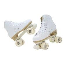 オリジナル黄金の馬専門のローラースケート2ライン靴複列スケートpuホイール牛革革プラスチック鋼板