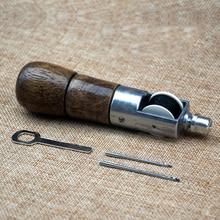 Hand nähmaschine, leder DIY werkzeug leder tasche naht carving gerät, holzgriff, Geben 5 # und 8 # nadel und Linie 10 Mt