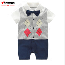 TONGMAO Brand Newborn Baby Boy Rompers Kanak-kanak Gentleman Pakaian Lengan Pendek Satu Pieces Jumpsuits Bayi Bebes Pakaian untuk Bayi Bayi