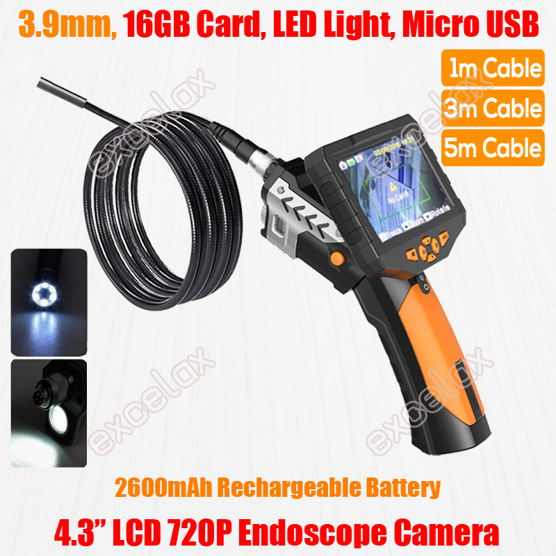 NEW 720P HD Handheld 3 9mm 1M 3M Flex Endoscope Camera 4 3 LCD Monitor LED