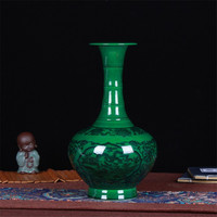 Chinese JINGDEZHEN Modern Ceramic Emerald Green Vase for Wedding Decoration Home Decor Living Room Decoration Porcelain Vase