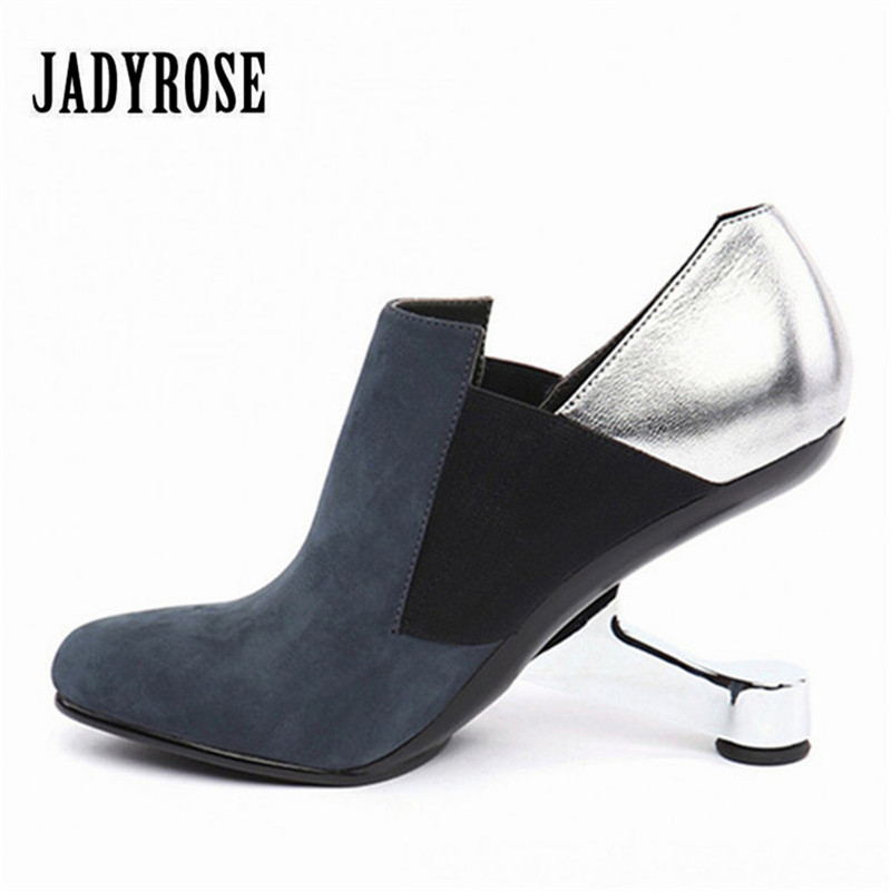 Jady Rose Metal Strange Heel Women Ankle Boots Female Genuine Leather Wedge Botas High Heel Shoes Woman Women Pumps Wedges strange heel women ankle boots genuine leather elastic booties wedge shoes woman high heels slip on women platform pumps