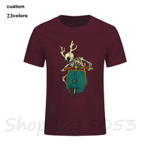 2019 Art Skull On The Classic Motorbike Men T Shirts O Neck Retro vaspa T-Shirt KTM Short Sleeve Tee male game TShirts undertale(China)