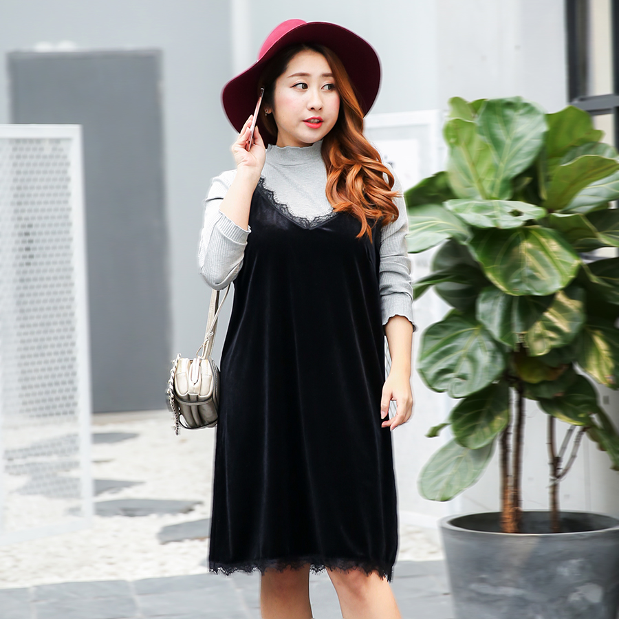 Sleeveless dress Korean velvet dress 2017 new fashion large 300 pound women wear spring new sexy women sexy lace lace 320