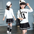 New Baby Girls Set 2017 Spring Autumn Fashion Casual Shirt+dress Two-Piece O-Neck Letter Slim Sport Clothing For 6-15Y Kids Hot