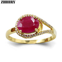 ZHHIRY Women Genuine 18K Gold Natural Ruby Ring Lady Gemstone Yellow Gold Wedding Rings With Certificate Fine Jewelry