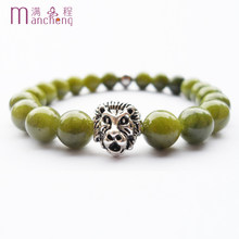 Unisex natural 8MM AAAAA Green Jades bracelet & stainless steel beads Ancient silver lion head bracelet jewelry for women,(China)